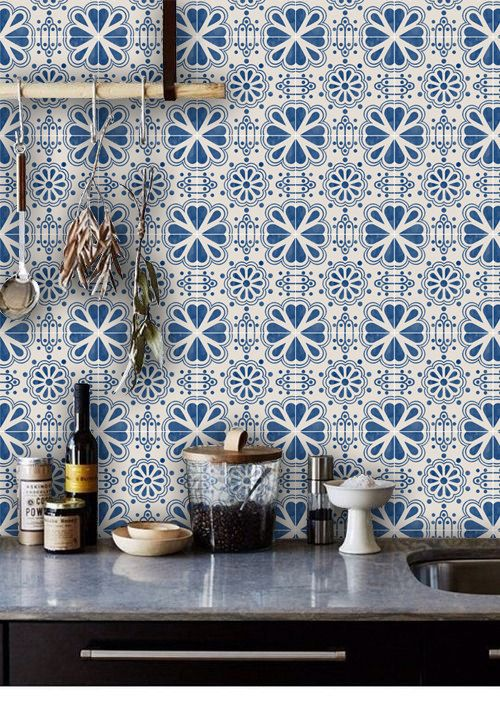 Mexican Domino Wallpaper in Indigo Blue Removable by QUADROSTYLE