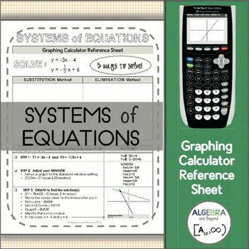 This graphing calculator reference sheet guides students step-by-step on how to check their system of equations solution on the calculator.Teaching graphing calculator skills help students with: SpeedMaking connectionsChecking for accuracyLeaping hurdles*Reference sheet can be used with a TI-83 or TI-84 graphing calculator.Please look at the preview to find out more information about this resource.Benefits of following this store:Save $$$ - Follow this store and receive updates on new…