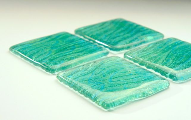 4 Green Blue Turquoise Seabed Coasters - 1 Set of 4 - Fused Glass