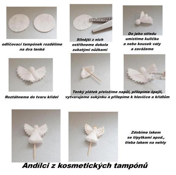 Andílci z kosmetických tampónů....Inspirace z netu...