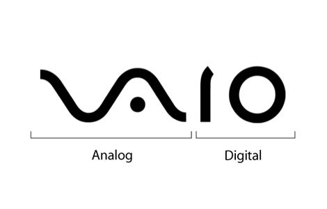 At first you just see the word VAIO, but look a little closer and you'll see the first two letters represent an analog symbol and the last two letters are binary.