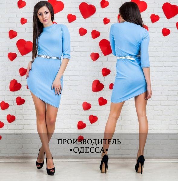 Облегающее платье мини ,косой низ