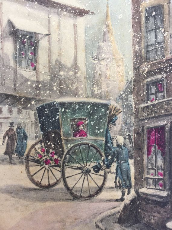 1800s Parijs in de Winter * illustratie op briefkaart