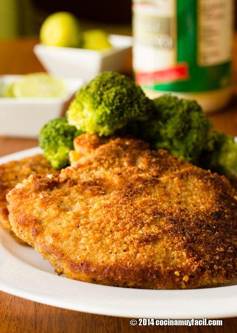 Prepara en casa estas deeliciosas Chuletas de cerdo a la parmesana. Receta   cocinamuyfacil.com