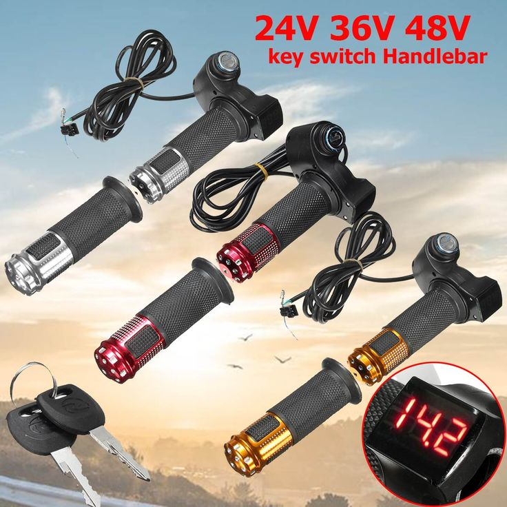 Throttle Grip LED Details About For EBike Electric Scooter 24V 36V 48V Handlebar Digital Meter 2 PCS Silver Red Orange