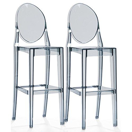 2xhome Set Of Two 2 Smoke 25 Seat Height Barstool Modern Ghost Chair Ghost  Stool Smoke