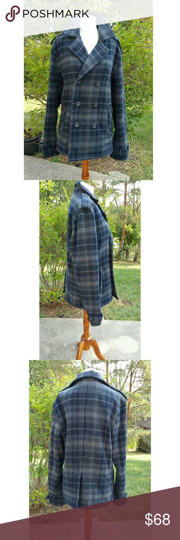 Legendary Goods Blue and Grey Plaid Pea Coat sz M This neat coat from Legendary Goods will keep you warm and in style this coming winter. It is a blue and gray watch plaid pea coat in good condition ready for you!  22in armpit to armpit 27 and 1/2 in in length 19in shoulder-to-shoulder Legendary goods Jackets & Coats Pea Coats