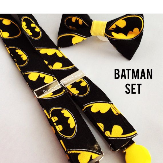 Hey, I found this really awesome Etsy listing at https://www.etsy.com/listing/158519907/batman-bow-tie-and-suspenders-set-for