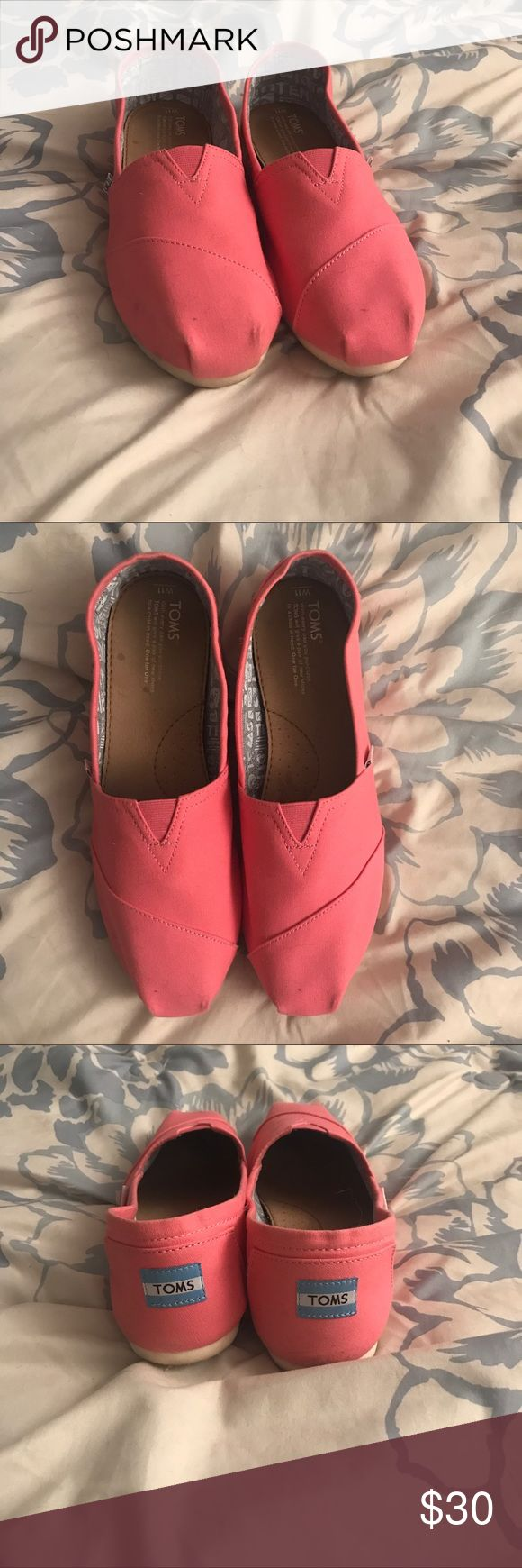 Women's pink toms Only worn twice Toms Shoes Flats & Loafers