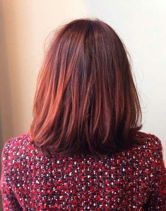 Cheveux en carr roux aux paules avec des reflets rouges - Carre plongeant roux ...
