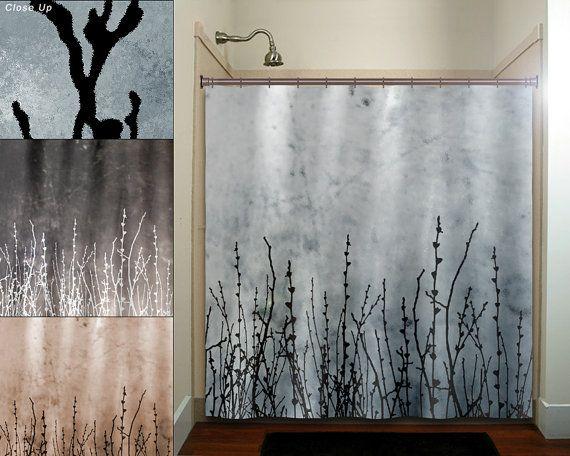 $67 Willow Twigs Tree Branch Grass Sticks Shower Curtain Bathroom Decor  Fabric Kids Bath White Black