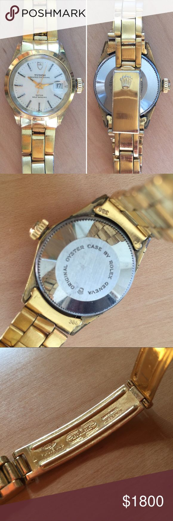 💯% Authentic Rolex/Tudor Gold Princess Watch Vintage 1970's Ladies Princess Tudor/Rolex Watch. Gold Plated Stainless Steel Swiss Rotor Self-Winding featuring a calendar at the 3 o'clock mark lens over date display. Rolex crown on turn dial and clasp. No Papers. Vintage wear on band not too noticeable unless up-close(see photos for details) Just had it serviced so it works great. A rare watch for the Rolex collector. Rolex/Tudor Accessories Watches