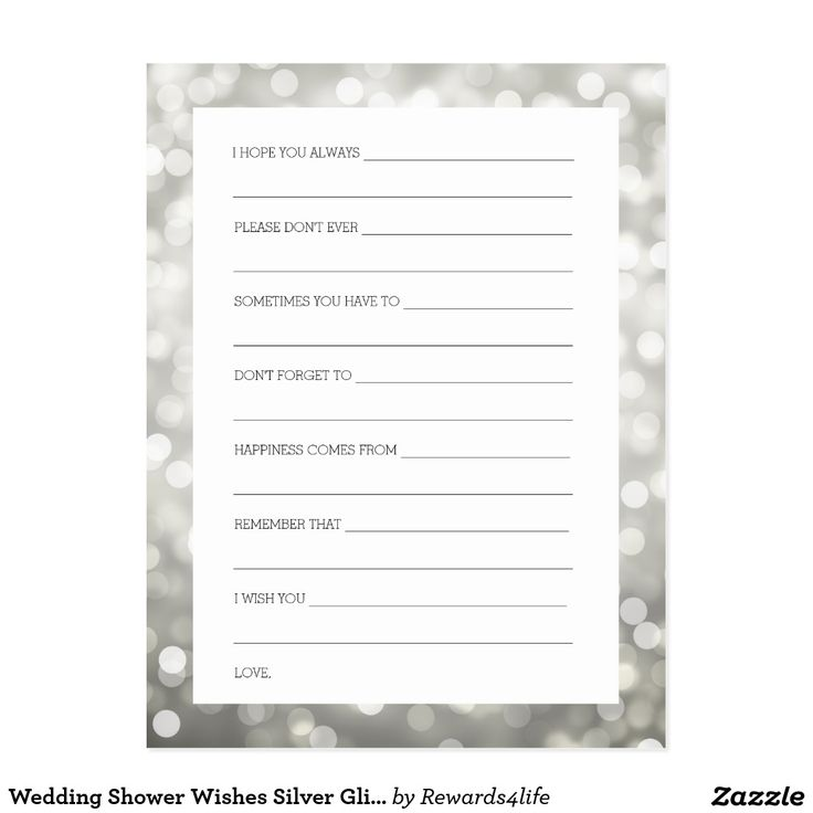 Wedding Shower Wishes Silver Glitter Lights Postcard Silver Glitter Lights Wishes For Bride And Groom / Newlywed Advice Cards / Bridal Shower Advice Cards / Wedding Advice Cards / Wedding Wishes Cards - perfect for bridal showers and elegant weddings.