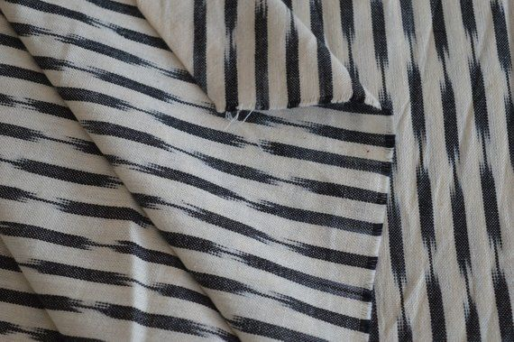 Black White Handloom Ikat Fabric Indian Ikat Fabric By Yard
