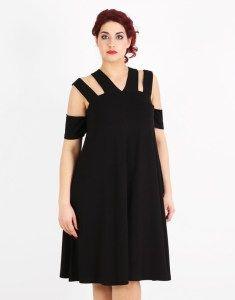 Plus size cut out black dress