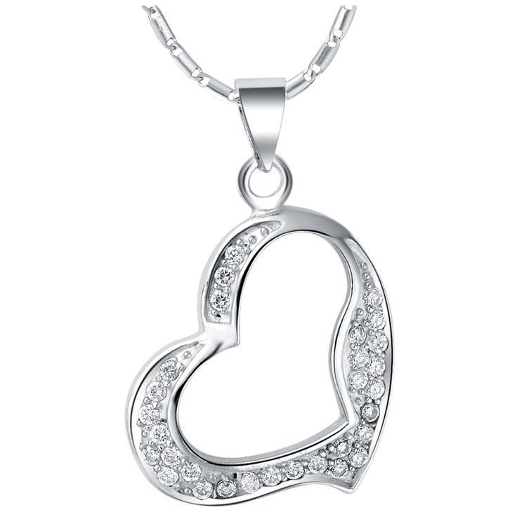 Хиты 2014 продажа мода в форме сердца ожерелья женщины летние аксессуары сияющий мини-кристаллы подвеска 18 К белое золото ожерелье N638