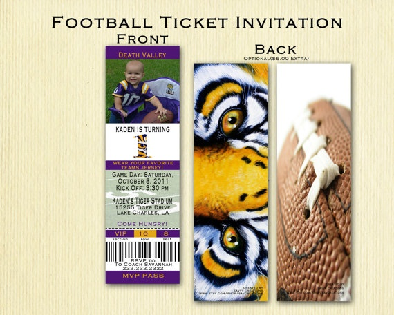 LSU Football Birthday Ticket Invitation by SavCreations on Etsy, $18.00