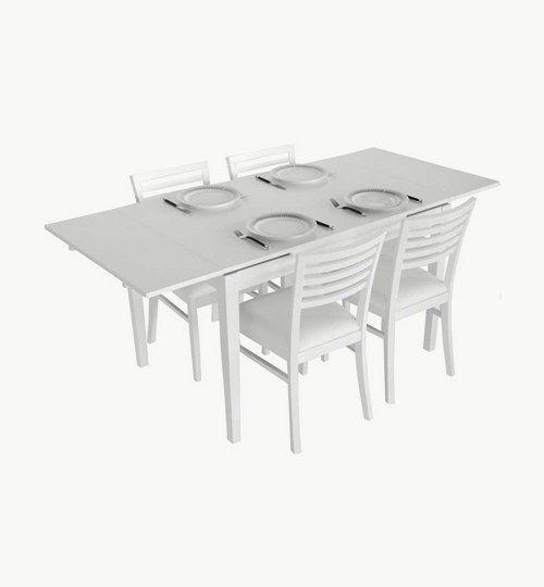 Ronja matbord i färg vit. Ett bord som kan användas som mat eller köksbord. Det går att justera längden från 120 cm till 180 cm, genom att dra ut en extra bordsskiva. Ronja är i vit ekfärg som passar i många svenska hem. #azdesign #matbord #bord
