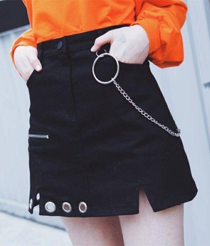 096fd5f340 Irregular High Waist Skirt with Ring Chain - #fashion #skirts #bottoms