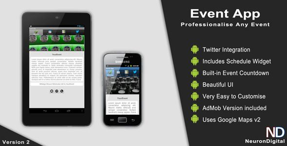 Event App http://codecanyon.net/item/event-app/3524483?ref=damiamio Description Event App will make any event you organise look 100 times more professional. This app gives you the opportunity to let your visitors know what they should expect during your event while keeping them updated by its twitter connection. This App runs on Android platform which is becoming increasingly popular. Like the idea but can't program? We can finish the app for your event and give it to you packaged for Google…