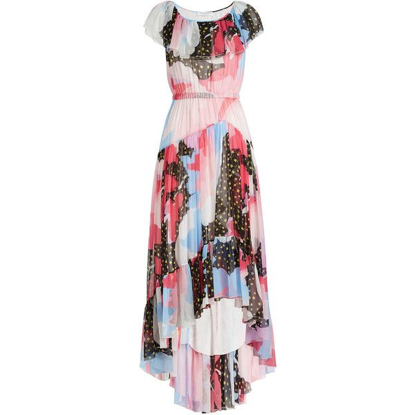 Philosophy di Lorenzo Serafini Printed Silk Chiffon Dress ($1,780) ❤ liked on Polyvore featuring dresses, multicolored, pink frilly dress, pink ruffle dress, pink hi low dress, short in front long in back dress and hi lo dresses