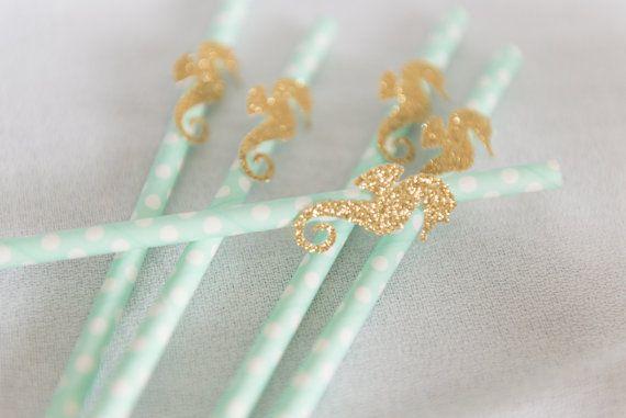 Under the sea birthday straws, little Mermaid birthday, sea green straws…