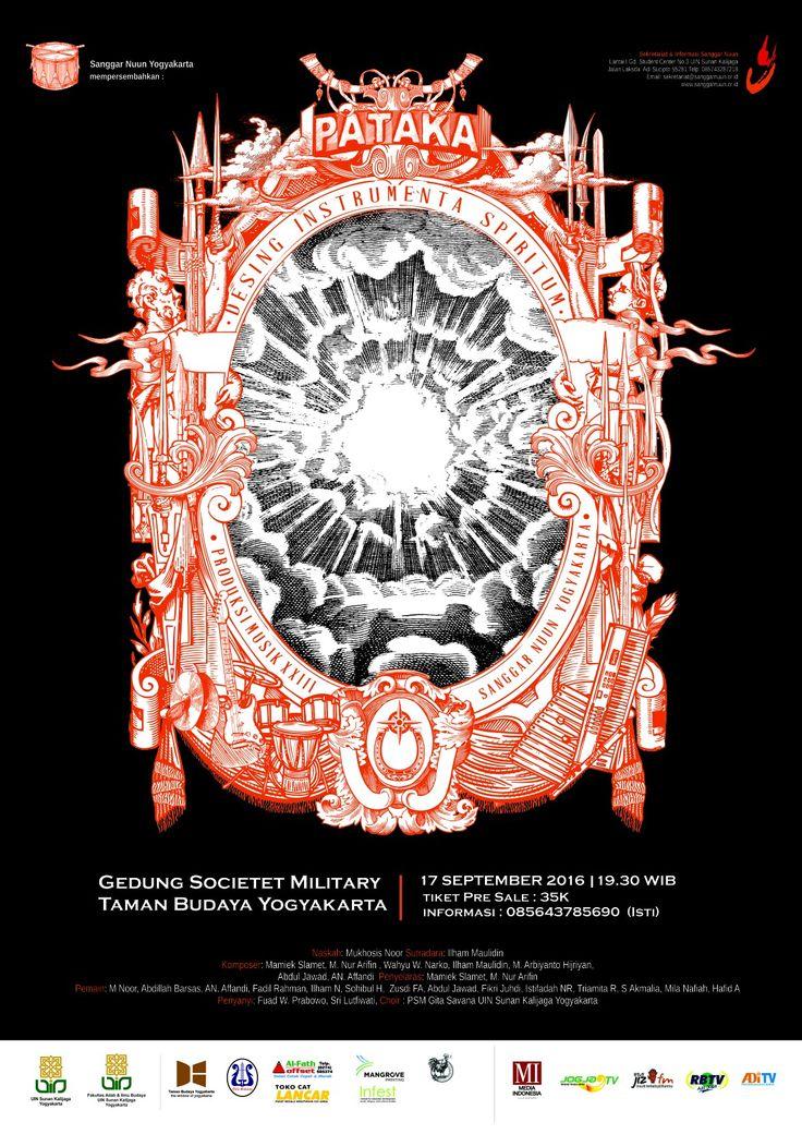 """Poster konser musik puisi Sanggar Nuun Yogyakarta """"PATAKA-DESING INSTRUMENTA SPIRITUM"""""""