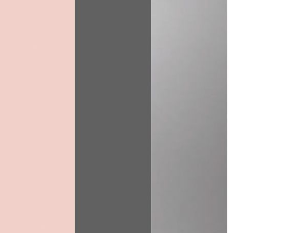 Our colors are blush pink, charcoal grey, silver, and white; wanted soft colors. We want a soft, modern, whimsical, ethereal, romantic and fun feelings