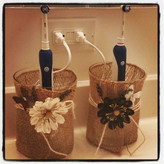Bathroom decor toothbrush covers- don't like the flowers but love the idea!
