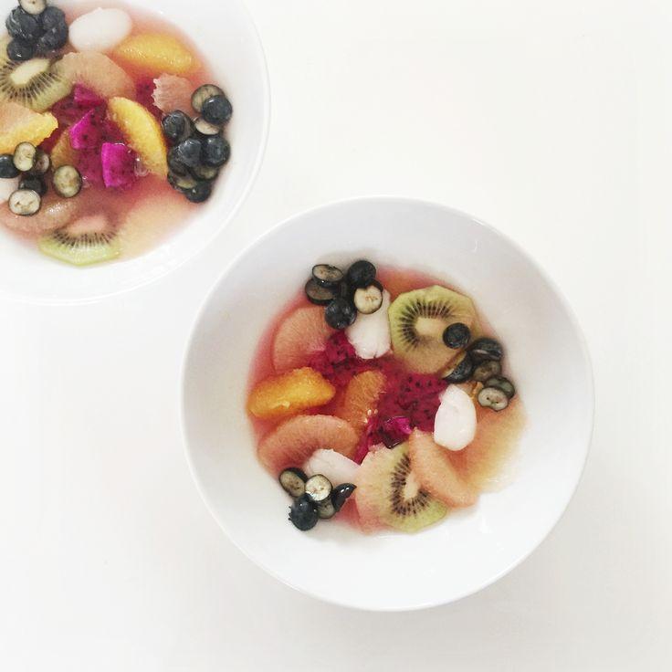Fruit salad, dragon fruit breakfast