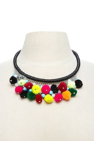 A wrapped statement necklace featuring a chain detail front with assorted beading and multi-colored pom pom trim, and complete with a lobster clasp closure.