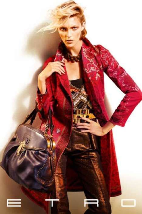 Mixing Textures & Patterns: Anja Rubik's Edgy Bohemian Look for Etro Fall 2009 Campaign