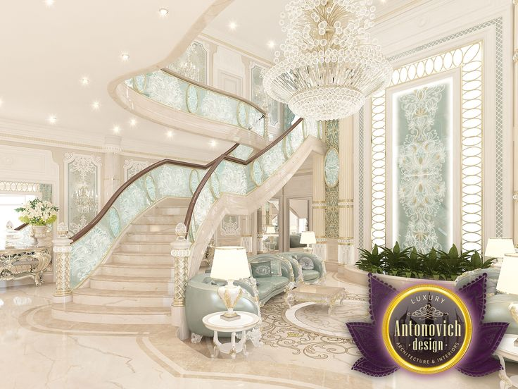 The Combination Of Bright Colors Mint Hues Curved Staircase Gorgeous Chandelier Ceilingand This Lovely Decor Elements
