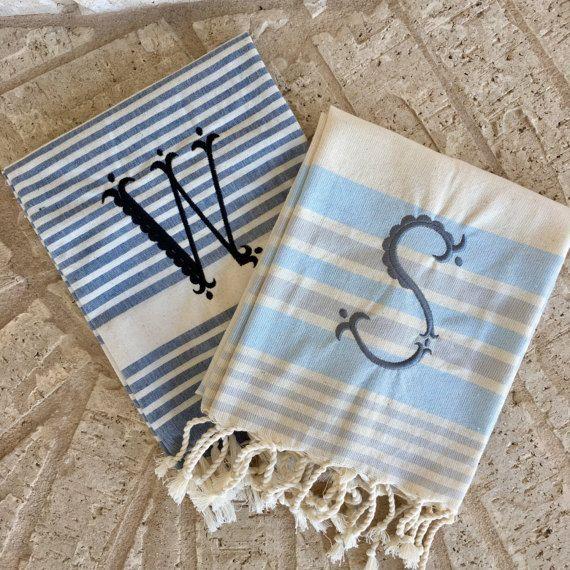 INTRO SALE Monogram Turkish Tea Towel Turkish Hand Towel