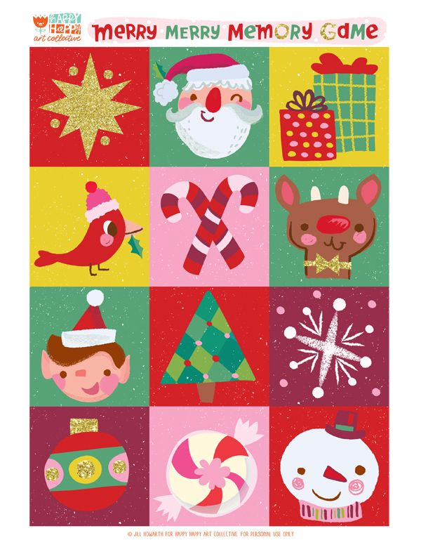 24 DAYS of FREEBIES :: Day 20 :: MERRY MERRY MEMORY GAME — happy happy art collective/Jill Howarth