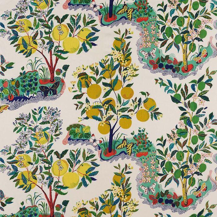 "Schumacher Fabric Citrus Garden Primary 175760 Exuberant Prints 100% Linen - - H:52"", V:32"" 52"" - My Fabric Connection - Schumacher"