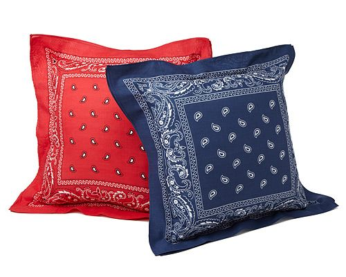 BANDANA PILLOWS | Paisley, UncommonGoods, Throw, All-American, Cowboy, Kerchief. | UncommonGoods  Great idea for a quick'n'easy pillow!!  Even *I* could sew this!!!
