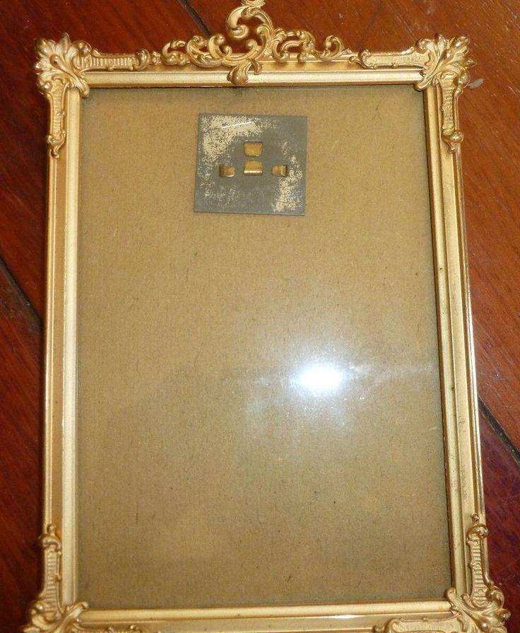 Fine Antique Gilt Metal Easel-Back Picture Frame  1900  Gold Plated outside fram