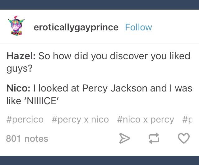 "Every Percy Jackson fan girl ever. ""Why'd u start getting obsessed with Percy Jackson"" ""well I just read a bit about Percy and I was like DAMN niiiiiice"""