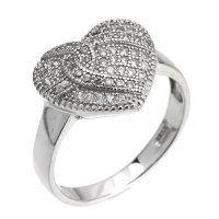 PR7013ZSS Srdiečko - strieborný prsteň so zirkónmi