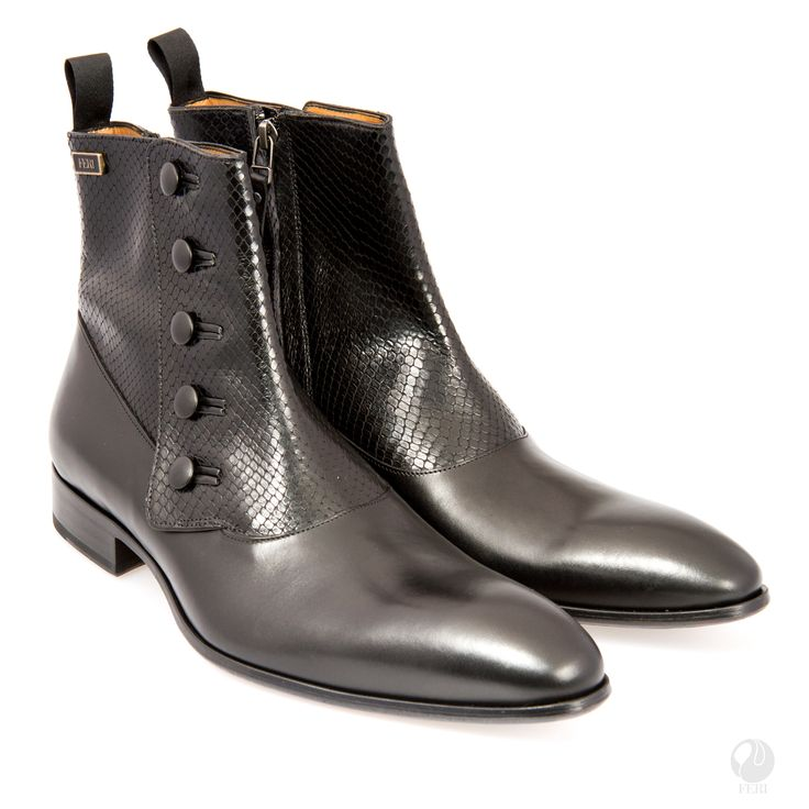 FERI - Abel - Boot - Black   - Mens genuine leather chelsea boot with zipper - Real cow hide leather with genuine python upper - Genuine leather sole - Custom sole imprint with FERI design - Colour: Black - Heel height: 0.98 inches - Hardware plate: 0.79 inches x 0.28 inches  Claim your Free $100 Gift check    http://www.gwtcorp.com/ghem or  email  fashionforghem.com for big discount