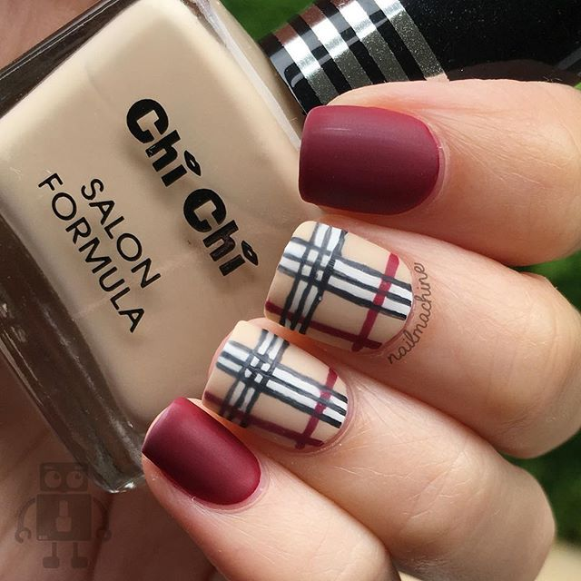 Burberry nails inspired by @nailsbycameron