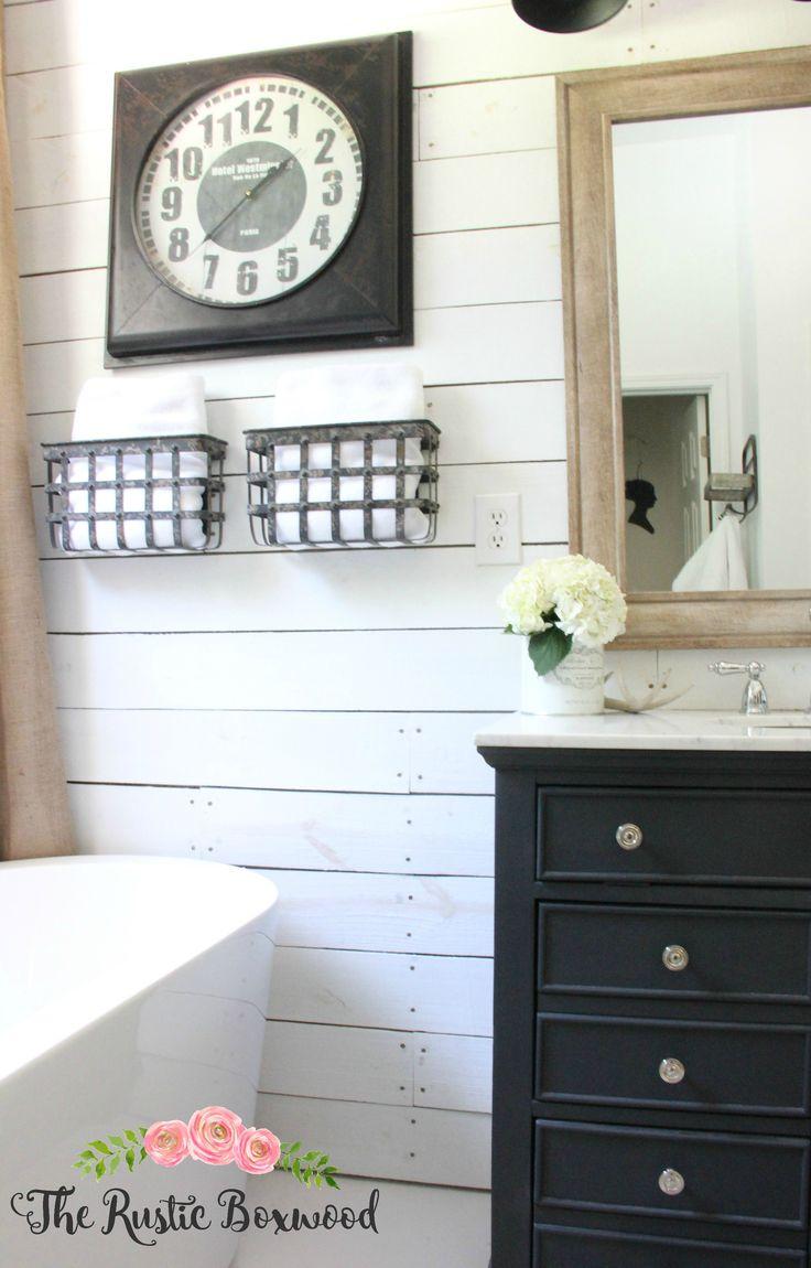 Shiplap in the bathroom | The Rustic Boxwood | farmhouse style, farmhouse charm, rustic, shiplap, metal, farmhouse bathroom, decorating, style, ascp, vanity, bathroom decor, freestanding tub, white, neutral, metal storage, bhg, marble