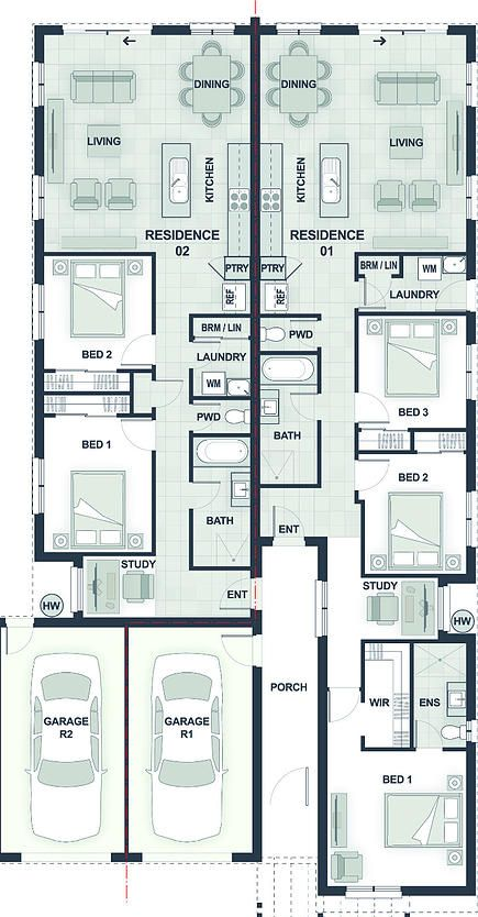 dual occupancy house plans - Google Search