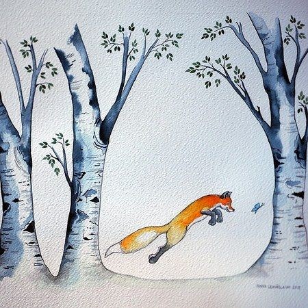 A fox and a butterfly #illustration #birchtree #butterflies #fox #jumpingfox #forest #naivistinen #painting #watercolorpainting  #watercolour #naiveart #naif #happy #porvoo #finland #suomi #kettu #perhonen #koivu #vesiväri #joy #watercolour_gallery