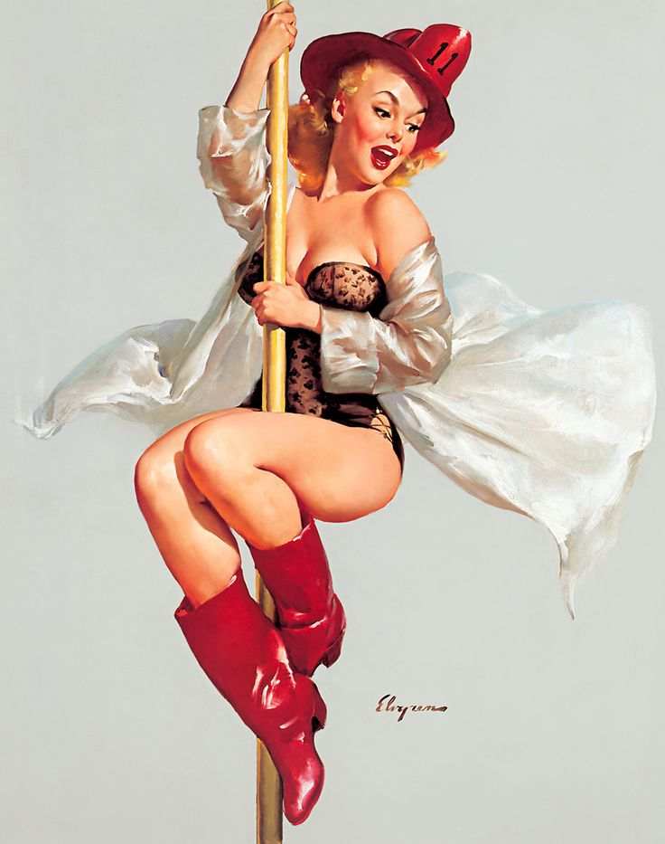 Gil Elvgren- pin up + pole= awesome