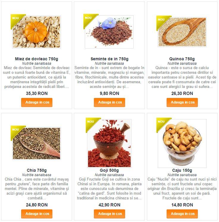Gama noua de seminte: susan, in, quinoa, chimen, chia, caju, dovleac, condimente, legume deshidratate si alte bunataturi: http://goo.gl/OLBREt
