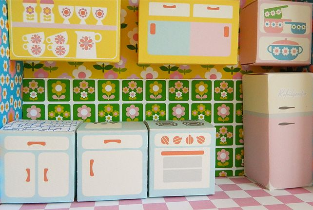 """Love this super retro """"Dream Kitchen"""" dollhouse printable! Coordinates with """"Dream Bedroom"""". More rooms coming soon!"""