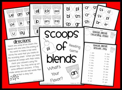 Scoops of Blends Phonics Reading Game from WorkaholicNBCT on TeachersNotebook.com -  (10 pages)