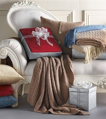 This Christmas give the gift of comfort with a cable-knit cashmere throw: Luxury, Cable Knit Cashmere, Chair, Cashmere Throw, Throws Draped, Throw Pillows, Holiday Gifts